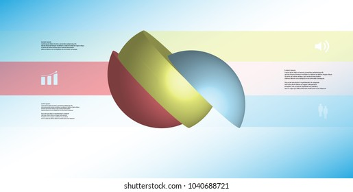 3D illustration infographic template with motif of sliced ball to three color parts which are turned to side and shifted. Simple sign and text is in color banners are on light blue gradient.