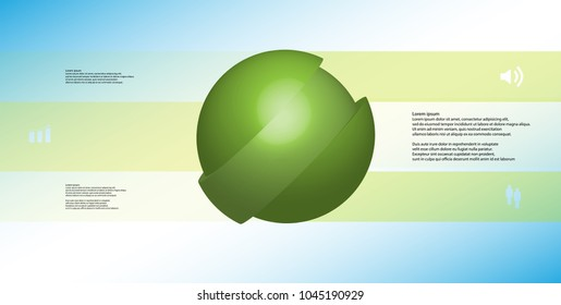 3D illustration infographic template with motif of askew sliced ball to three green parts which are shifted. Simple sign and text is in color banners. Light blue gradient is used as background.