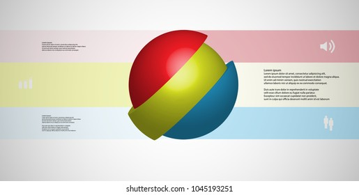 3D illustration infographic template with motif of askew sliced ball to three color parts which are shifted. Simple sign and text is in color banners. Light grey gradient is used as background.