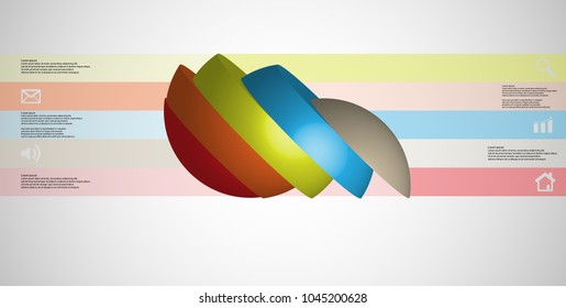 3D illustration infographic template with motif of sliced ball to five color parts which are turned to side and shifted. Simple sign and text is in color banners are on light grey gradient background.