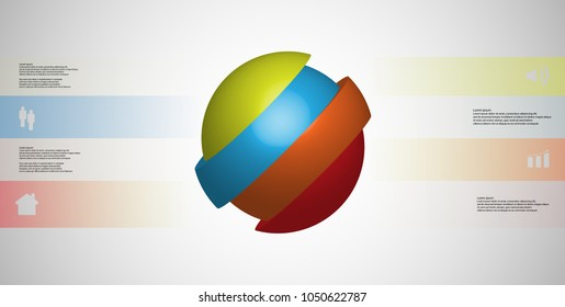 3D illustration infographic template with motif of askew sliced ball to four color parts which are shifted. Simple sign and text is in color banners. Light grey gradient is used as background.
