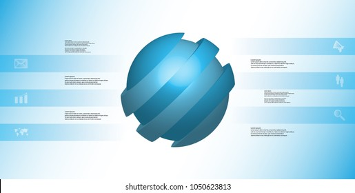 3D illustration infographic template with motif of askew sliced ball to six blue parts which are shifted. Simple sign and text is in color banners. Light blue gradient is used as background.