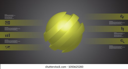 3D illustration infographic template with motif of askew sliced ball to six green parts which are shifted. Simple sign and text is in color banners. Dark grey gradient is used as background.