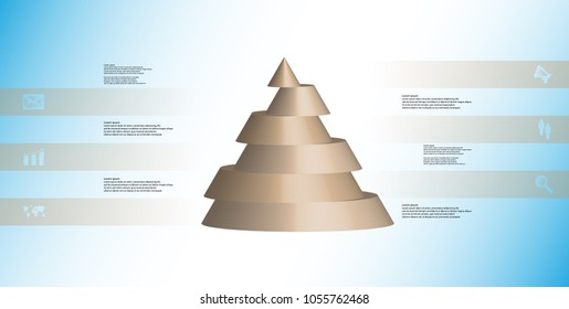 3D illustration infographic template with motif of horizontally sliced cone to six brown parts which are shifted. Simple sign and text is in color banners. Light blue gradient is used as background.