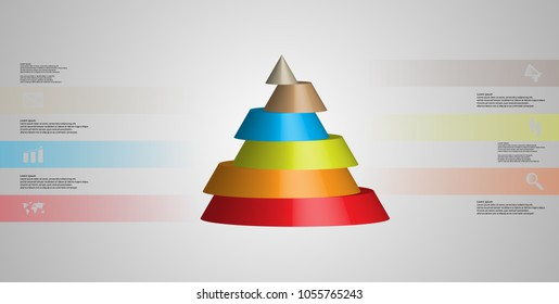 3D illustration infographic template with motif of horizontally sliced cone to six color parts which are shifted. Simple sign and text is in color banners. Light grey gradient is used as background.