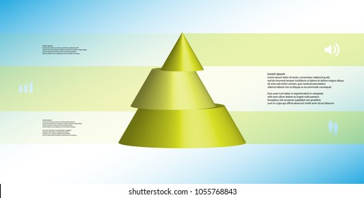 3D illustration infographic template with motif of horizontally sliced cone to three green parts which are shifted. Simple sign and text is in color banners. Light blue gradient is used as background.