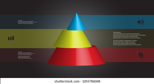 3D illustration infographic template with motif of horizontally sliced cone to three color parts which are shifted. Simple sign and text is in color banners. Dark grey gradient is used as background.