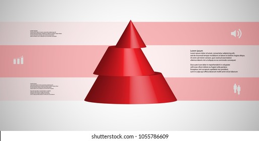 3D illustration infographic template with motif of horizontally sliced cone to three red parts which are shifted. Simple sign and text is in color banners. Light grey gradient is used as background.