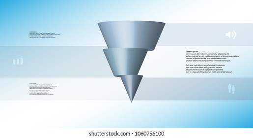 3D illustration infographic template with motif of horizontally sliced cone to three blue parts which are shifted. Simple sign and text is in color banners. Light blue gradient is used as background.