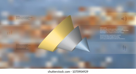 3D illustration infographic template with motif of sliced cone to three color parts which are shifted, spilled and askew arranged. Simple sign and text is in color banners. Background is blurred photo
