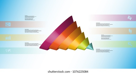 3D illustration infographic template with motif of sliced cone to six color parts which are shifted, spilled and askew arranged. Simple sign and text is in color banners. Background is light blue.