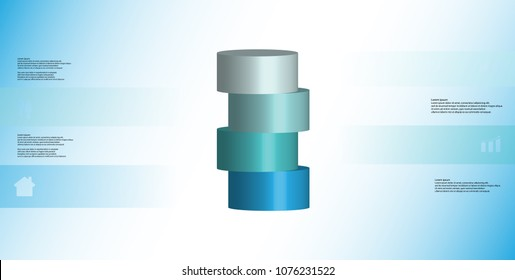 3D illustration infographic template with motif of horizontally sliced cylinder to four blue parts which are shifted. Simple sign and text is in color banners. Background is light blue.