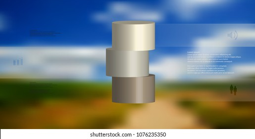 3D illustration infographic template with motif of horizontally sliced cylinder to three brown parts which are shifted. Simple sign and text is in color banners. Background is blurred photo.