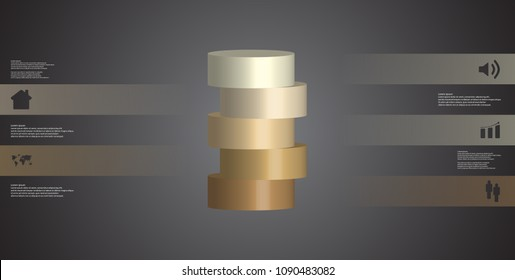 3D illustration infographic template with motif of horizontally sliced cylinder to five brown parts which are shifted. Simple sign and text is in color banners. Background is dark grey.