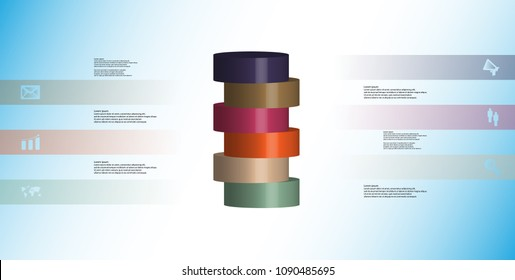 3D illustration infographic template with motif of horizontally sliced cylinder to six color parts which are shifted. Simple sign and text is in color banners. Background is light blue.