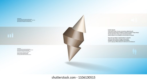 3D illustration infographic template with motif of sliced spiked cone to three brown parts and askew arranged. Simple sign and text is in color banners. Background is light blue.