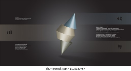 3D illustration infographic template with motif of sliced spiked cone to three color parts and askew arranged. Simple sign and text is in color banners. Background is dark grey.