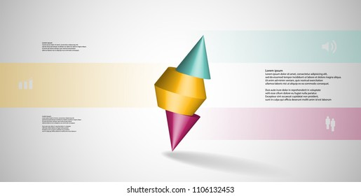 3D illustration infographic template with motif of sliced spiked cone to three color parts and askew arranged. Simple sign and text is in color banners. Background is light grey.