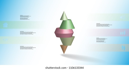 3D illustration infographic template with motif of horizontally sliced spiked cone to five color parts stands on top. Simple sign and text is in color banners. Background is light blue.