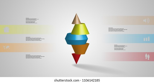 3D illustration infographic template with motif of horizontally sliced spiked cone to five color parts stands on top. Simple sign and text is in color banners. Background is light grey.