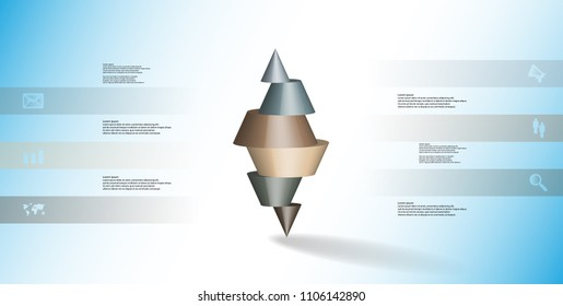 3D illustration infographic template with motif of horizontally sliced spiked cone to six color parts stands on top. Simple sign and text is in color banners. Background is light blue.