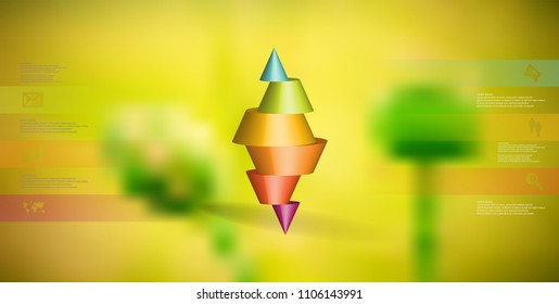 3D illustration infographic template with motif of horizontally sliced spiked cone to six color parts stands on top. Simple sign and text is in color banners. Background is blurred photo.