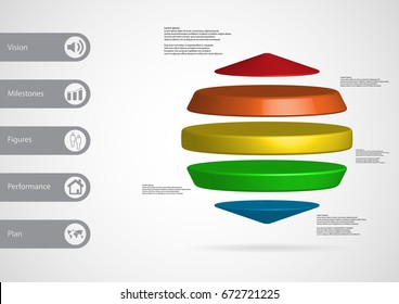 3D illustration infographic template with motif of three cylinders between two cones horizontally arranged with simple sign and sample text on side in bars. Light grey gradient is used as background.