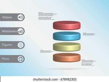3D illustration infographic template with motif of cylinder horizontally divided to four color slices with simple sign and sample text on side in bars. Light blue gradient is used as background.