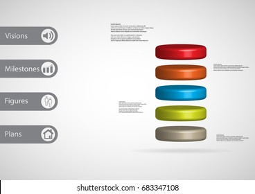 3D illustration infographic template with motif of cylinder horizontally divided to five color slices with simple sign and sample text on side in bars. Light grey gradient is used as background.