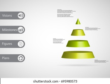 3D illustration infographic template with motif of cone triangle horizontally divided to four green slices with simple sign and sample text on side in bars. Light grey gradient is used as background.