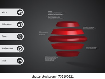 3D illustration infographic template with motif of round hexagon horizontally divided to five red slices with simple sign and text on side in bars. Dark grey gradient used as background.
