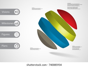 3D illustration infographic template with motif of ball askew divided to four color slices with simple sign and text on side in bars. Light grey gradient used as background.