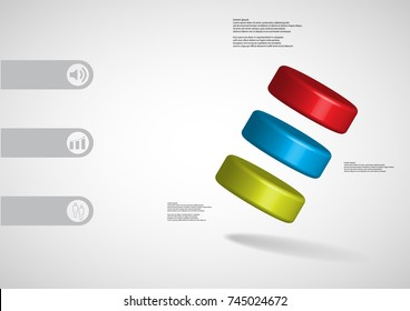 3D illustration infographic template with motif of three color cylinders askew arranged with simple sign and sample text on side in bars. Light grey gradient is used as background.
