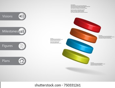 3D illustration infographic template with motif of four color cylinders askew arranged with simple sign and sample text on side in bars. Light grey gradient is used as background.