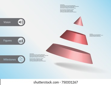 3D illustration infographic template with motif of cone divided to three red parts askew arranged with simple sign and sample text on side in bars. Light blue gradient is used as background.
