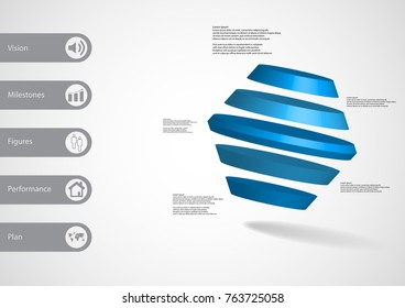 3D illustration infographic template with motif of rotated hexagon divided to five blue parts askew arranged with simple sign and sample text on side in bars. Light grey gradient is used as background