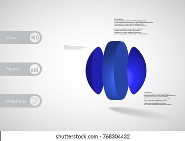 3D illustration infographic template with motif of ball vertically divided to three blue parts askew arranged with simple sign and sample text on side in bars. Light grey gradient used as background