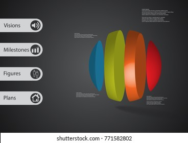 3D illustration infographic template with motif of ball vertically divided to four color parts with simple sign and sample text on side in bars. Dark grey gradient is used as background.