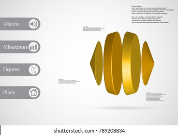 3D illustration infographic template with motif of two cones and two cylinders between vertically arranged with yellow color with simple sign and sample text on side in bars.