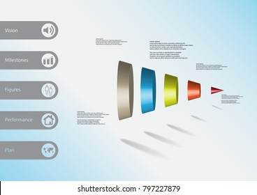 3D illustration infographic template with motif of round cone vertically divided to five color parts with simple sign and sample text on side in bars. Light blue gradient is used as background.