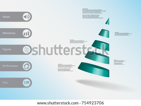 3D Illustration Infographic Template With Motif Of Cone Divided To Five Blue Parts Askew Arranged