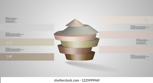3D illustration infographic template. The round pentagon is divided to six color parts. Object is arranged on grey white background. Color bars with simple signs are on sides.