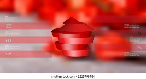 3D illustration infographic template. The round pentagon is divided to six red parts. Object is arranged on blurred photo background. Color bars with simple signs are on sides.