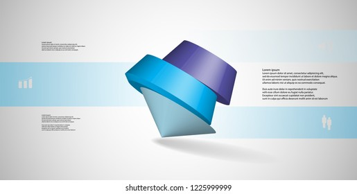 3D illustration infographic template. The round pentagon is divided to three color parts. Object is askew arranged on grey white background. Color bars with simple signs are on sides.