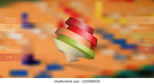 3D illustration infographic template. The round pentagon is divided to six color parts. Object is askew arranged on blurred photo background. Color bars with simple signs are on sides.
