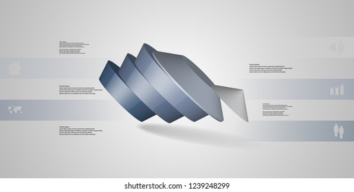 3D illustration infographic template. The round pentagon is divided to five color parts. Object is askew arranged on grey white background. Color bars with simple signs are on sides.