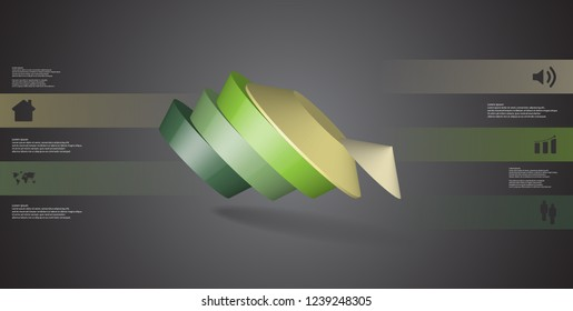 3D illustration infographic template. The round pentagon is divided to five color parts. Object is askew arranged on grey black background. Color bars with simple signs are on sides.
