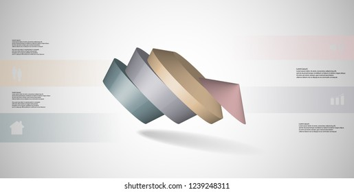 3D illustration infographic template. The round pentagon is divided to four color parts. Object is askew arranged on grey white background. Color bars with simple signs are on sides.
