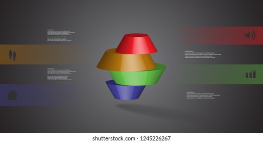 3D illustration infographic template. The round octagon is divided to four color parts. Object is arranged on grey black background. Color bars with simple signs are on sides.