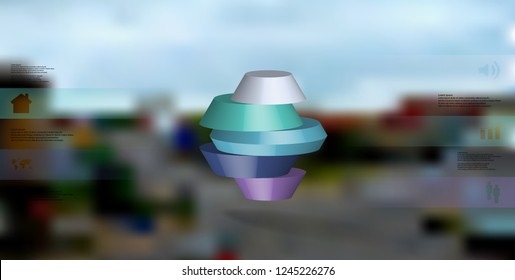 3D illustration infographic template. The round octagon is divided to five color parts. Object is arranged on blurred photo background. Color bars with simple signs are on sides.